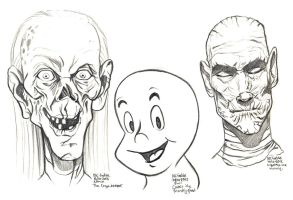 Daily Sketches Crypt keeper and Casper and Imhotep by fedde