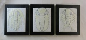 Trilobite Triptych Fused Glass Panels by trilobiteglassworks