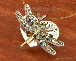 3D Dragonfly on heart pendant by BrotherlyFluff