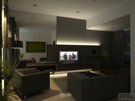 DST Living Area-Night by cmjohncheng
