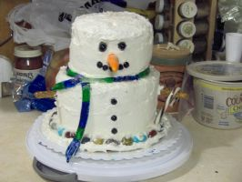 Snowman Cake by BloodyKisses56