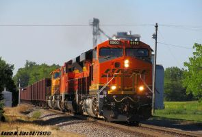 Brand Spankin new BNSF 6960 leads ore train by EternalFlame1891