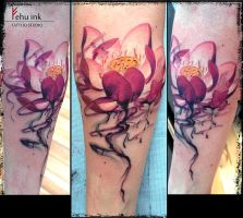 Watercolor lotus tattoo by ellegottzi