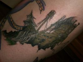 Sunken Pirate Ship tattoo by xxmatt-thomasxx