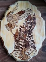 Woodburning - Gryphon and Castle - For Sale by Stepher17