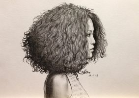 curly haired girl by chingybta