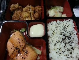 Salmon and Chicken Bento by nosugarjustanger