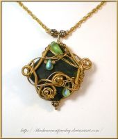 Green and Gold Pendant by blackcurrantjewelry