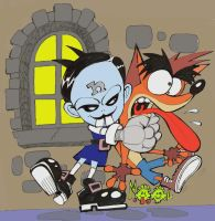 Nina Cortex and Crash Bandicoot by rods3000