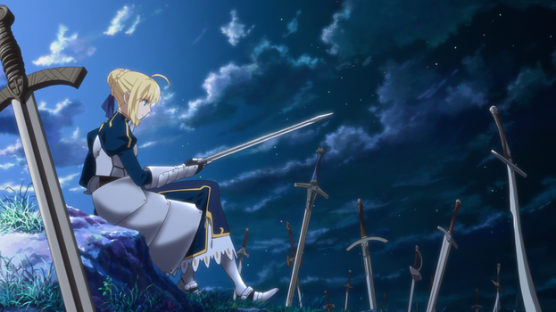 Arturia polishing her sword by Fu-reiji