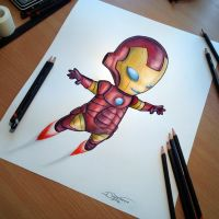 Baby Iron Man Pencil Drawing by AtomiccircuS