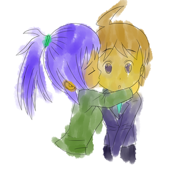 Chibi kiss on the cheek - spread coloring by KainNoctis