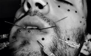 Face Play piercing (painful pleasure) .1 by TheChristOff