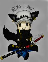 Neko Trafalgar Law ~ One Piece (colored) by ArisaKei
