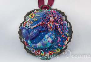 Mermaid Art Pendant Polymer Clay Sculpted by DeidreDreams