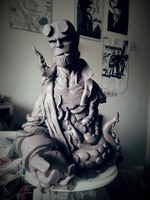 Mignola Hellboy Bust WIP 02 by logan250