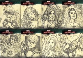 Marvel Sketch Cards Group 1 by artbytravis