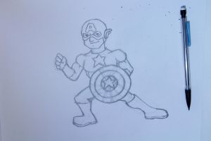 Drawing Capitain American by vcdesenhos