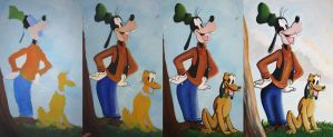 Goofy and Pluto WIP by Bonniemarie