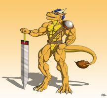 Commission: Ryoru the Golden Warrior by TargonRedDragon