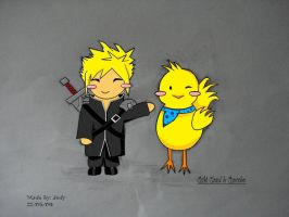 Chibi Cloud and Chocobo by twinkelsparky1