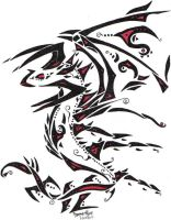 Tribal Wyrm -Black and Red by dragonmasterx10