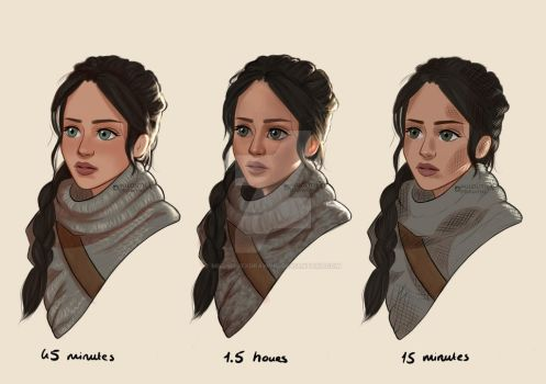 Katniss Everdeen - 3 coloring styles  by miloutjexdrawing
