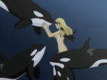 .Kanako and orcas. by Els-e