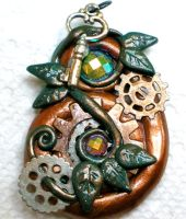 Steampunk Gears with Vine and Key necklace pendant by Brisbykins