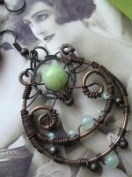 Whimsical Wire Wrapped Copper hoops with Onyx by Lirimaer86
