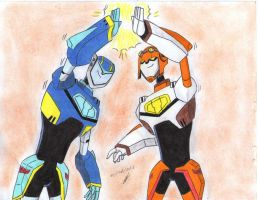 palms touch jet twins Transformers Animated by ailgara