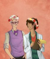 Cecil And Carlos In Flower Crowns by sarahbelllum