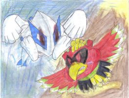 Lugia and Ho-oh Kirby by Tetsushi