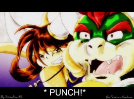 Phoebe Punches Bowser by Sonadow-95