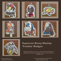 Supercon 'Freebie' Badges by weepysheep