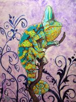Louie the colorful chameleon by eiudragon