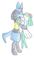 Lucario and Kirlia first kiss by Fluna