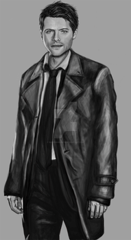 black and white castiel by sleepinggiants