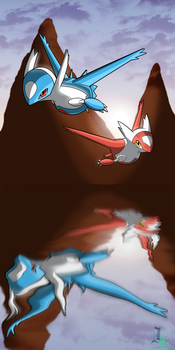 Background Practice: Latias and Latios Colored by JamalC157