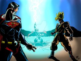 Superman vs Thor vs Goku by Velocirapier