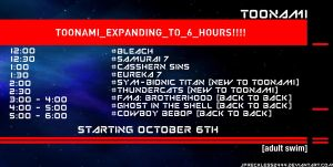 Toonami Expands to 6 Hours on 10.6.12 by JPReckless2444