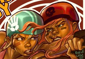 Roller Derby Closeup by kidchuckle