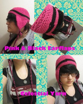 Pink and Black Earflap Hat by GerudoRose502