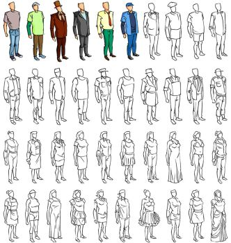 sketchy infographic elements : human : wip by scorpy-roy