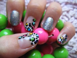 Glamorous Neon Leopard Nails by oMARUo