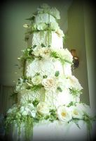 Tall Cake with Elegant Flowers by MathewsManor