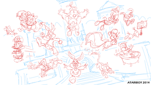 Tiny Toon Adventures - Its Time Phase 1 Sketch. by Atariboy2600