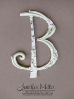 Ivory Embellished Initial Wedding Cake Topper by ArteDiAmore