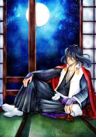 .:Gazing at the Moon:. Byakuya Kuchiki by Hoshino-Arashi