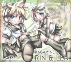Kagamine Rin and Len by U-NI